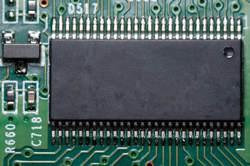Macro of electronic circuit board with chip or processor