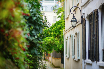 Beautiful lantern on a calm street of Paris