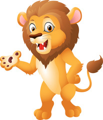 Cute cartoon lion presenting