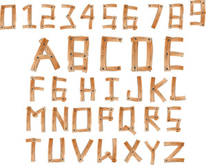 Illustration of wood alphabet A to Z and numbers set 0 to 9