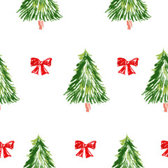 Pattern with christmas tree. Merry Christmas card.