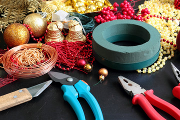Decorations for making christmas wreath