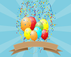 Party Background with Colorful Balloon
