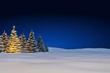 Schneelandschaft mit Weihnachtsbaum