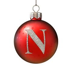 Christmas ball font letter N