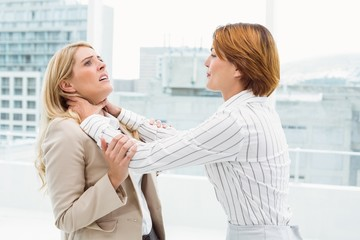 Businesswomen having a violent fight in office