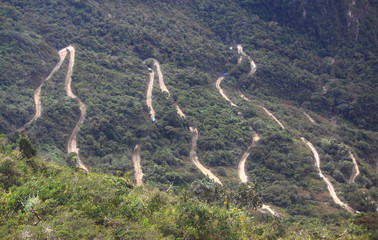 Steep winding road leading up to Machu Picchu from Aguas