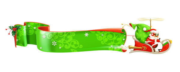 Santa Claus on sledge, vector banner