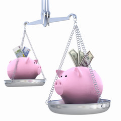 piggy bank on scales. Dollar versus Euro.