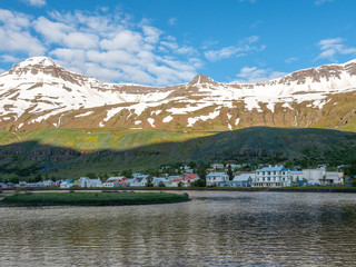 Scenic view of town Seydisfjordur, Iceland.