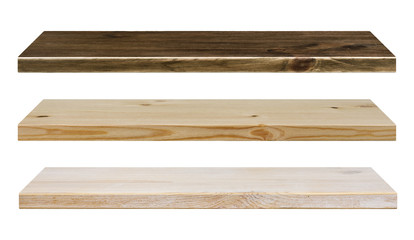 Different color wooden shelves isolated on white
