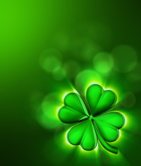 Clover leaf on the green background