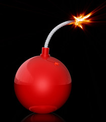 Red bomb with burning match
