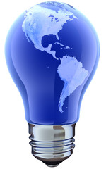 Light bulb with map. America