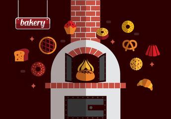 bakery icons. flat design