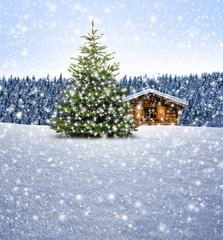 Schihütte mit Weihnachtsbaum bei Schnee