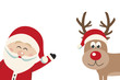 santa claus wave reindeer red nose side isolated background