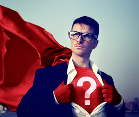 Strong Superhero Businessman Question Mark Concepts