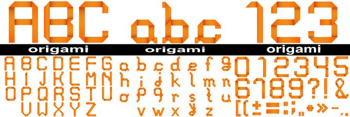 Orange origami fonts isoalted