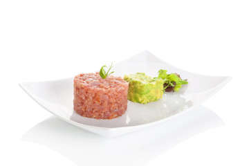 Tuna steak tartare.