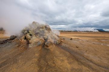 Steaming fumarole in geothermal Namaskard Area, Iceland.