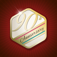 90th Anniversary - golden Seal, Badge on red rays background