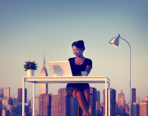 Businesswoman Working Outdoor New York Concept
