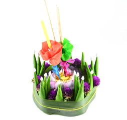 Loy kratong Festival in Thailand,isolate  on white background