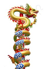 Chinese dragon statue isolated on white background