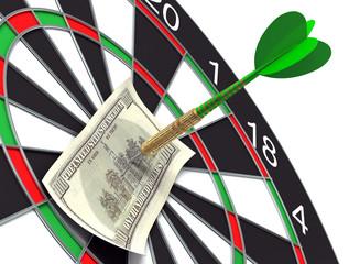 Darts target and 100 dollars in bull's-eye