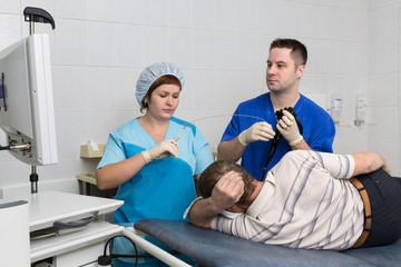 The patient in the endoscopy room