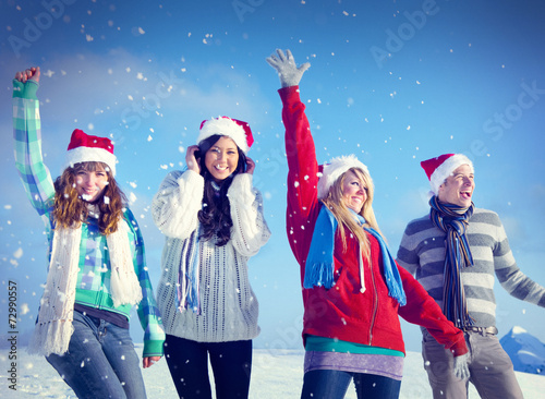 canvas print picture Friends Enjoyment Winter Holiday Christmas Concept