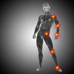 Conceptual wireframe human anatomy pain