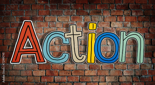 canvas print picture Action Word and Brick Wall in Background