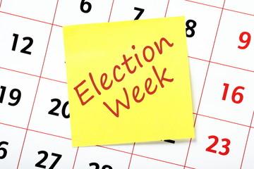 Election Week reminder on a wall calendar