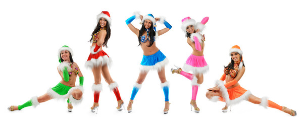 Group of cute sexy girls in christmas costume isolated on white