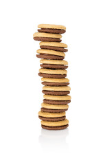 Stack of cookies with the filling seen from the front.