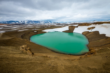Scenic view of Viti crater at Krafla geothermal area, Iceland