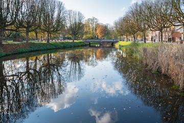 Dutch city canal in autumn