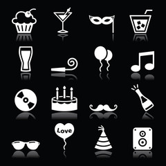 Party icons set - birthday, New Year's, Christmas on black