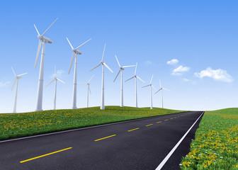 Wind turbines along road