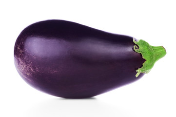 Ripe fresh aubergine isolated on white background