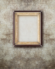 old picture frame  wood isolated on ruined wall effect backgroun