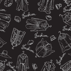 Vector pattern with outerwear, headgear on black color