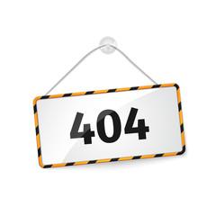 404 error. Realistic hanging panel, billboard, banner.