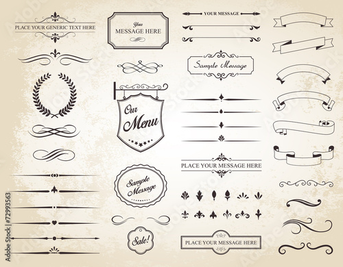 Vector Set of Vintage Calligraphic Elements - 72993563