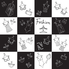 Vector pattern with lingerie for women in black, white