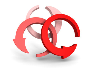 three round red arrows on white background