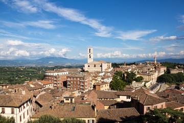 Perugia cityscape, view on San Domenico church