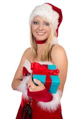 hübsche Frau mit einem Weihnachtsgeschenk